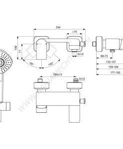 Смесител за вана/душ с аксесоари EDGE A712201