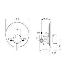 Вграден смесител за душ CERALINE IDEAL STANDARD A6940AA