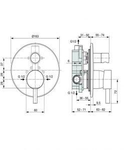 Вграден смесител за вана/душ CERALINE IDEAL STANDARD A6939AA