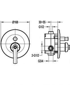 Четирипътен смесител за вграждане за вана/душ NOVARA TREND ORB BS8308J-101 ORB