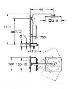 Душ система с термостат GROHE EUPHORIA SMARTCONTROL SYSTEM 310 CUBE DUO 26508000