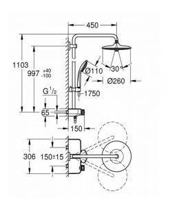 Душ система с термостат за стенен монтаж GROHE EUPHORIA SMARTCONTROL SYSTEM 260 MONO 26509000