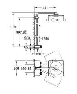 Душ система с термостат за стенен монтаж GROHE EUPHORIA SMARTCONTROL SYSTEM 310 CUBE DUO 26508LS0