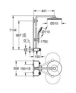Душ система с термостат за стенен монтаж GROHE EUPHORIA SMARTCONTROL SYSTEM 310 DUO 26507LS0