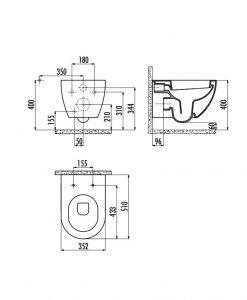 Конзолна тоалетна сив мат модел FREE
