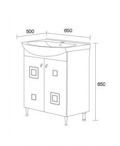 PVC шкаф с мивка модел Сити 65