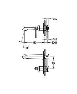 Стенен смесител за вграждане за мивка NOVARA TREND BS8292-100 ORB
