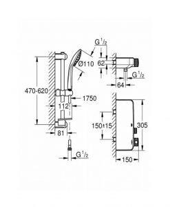 Термостатен смесител за душ, 1/2″ С душова гарнитура GROHE GROHETHERM SMARTCONTROL 34720000