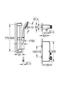 Термостатен смесител за душ, 1/2″ С душова гарнитура GROHE GROHTHERM SMARTCONTROL 34721000