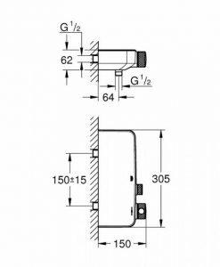 Термостатен смесител за душ GROHE GROHETHERM SMARTCONTROL 34719000