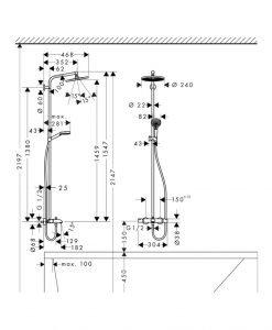 Термостатна душ колона с чучур HANSGROHE CROMETTA E240 2732000