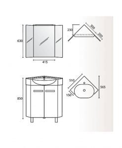 Комплект PVC ъглов шкаф за баня модел Корсика