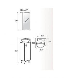 Комплект PVC шкаф с асиметрична мивка модел Бела