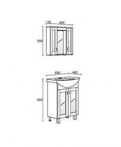 Комплект PVC шкаф за баня модел Елеганс