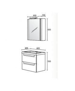 Комплект PVC шкаф за баня модел Фрея