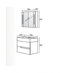 Комплект PVC шкаф за баня модел Гала