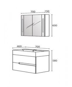 Комплект PVC шкаф за баня модел Гала 70