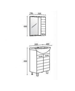 Комплект PVC шкаф за баня модел Корнер