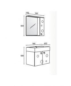 Комплект PVC шкаф за баня модел Мио