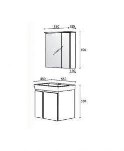 Комплект PVC шкаф за баня модел Модена