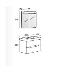 Комплект PVC шкаф за баня модел Монако