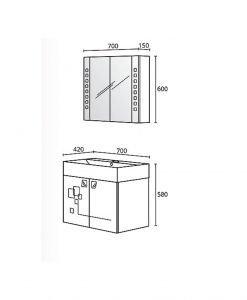 Комплект PVC шкаф за баня модел Сиана