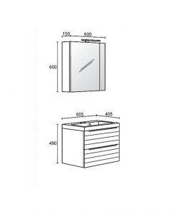 Комплект PVC шкаф за баня модел Тоник