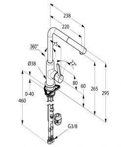 Кухненски смесител с изтеглящ се чучур KLUDI L-INE S 408510575