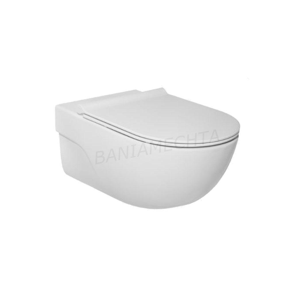Окачена тоалетна ROCA MERIDIAN RIMLESS с капак SOFT CLOSE