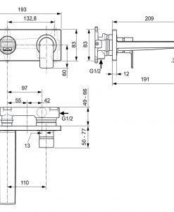 Вграден смесител за мивка A7116AA Edge IDEAL STANDARD