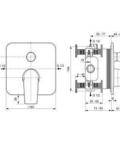 Вграден смесител за вана/душ A7124AA Edge IDEAL STANDARD