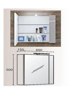 Огледален PVC шкаф модел Тоник 60