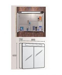 Огледален PVC шкаф Монако 80