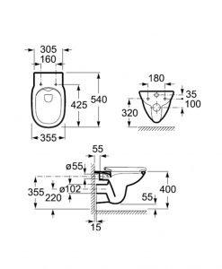 Окачена тоалетна чиния ROCA DEBBA RIMLESS ROUND 346998000 Soft Close