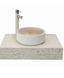 Плот от варовик за стенен монтаж комплект с умивалник 4023