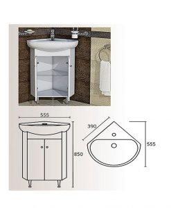 PVC ъглов шкаф долна част с мивка Торино