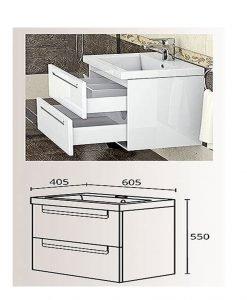 PVC шкаф долна част с мивка модел Фрея 60