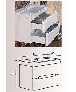 PVC шкаф долна част с мивка Монако 80