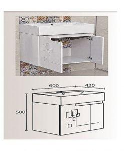 PVC шкаф с мивка модел Грация 60