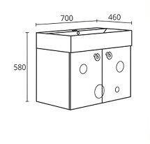 PVC шкаф с мивка за баня модел  Мио 70