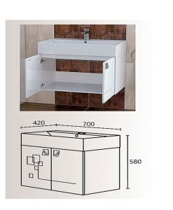 PVC шкаф с мивка за баня модел Сиана 70