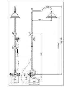 Телескопична ретро душ колона в черен цвят Олла ICT 6481ORB