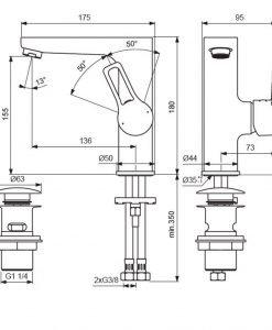 Смесител за умивалник с висок чучур и Click изпразнител VIDIMA SEVA TOP BC399AA