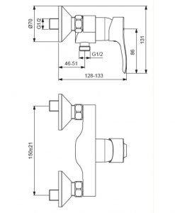 Стенен смесител за душ VIDIMA SEVA S BC387AA