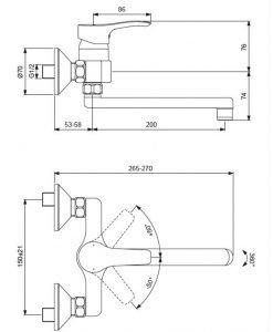 Стенен смесител за кухня с тръбен чучур VIDIMA SEVA S BC392AA