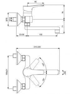 Стенен смесител за умивалник VIDIMA SEVA S BC391AA