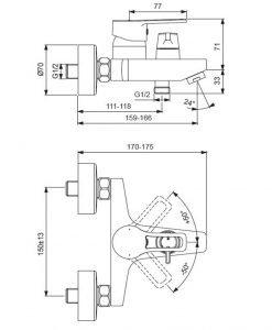 Стенен смесител за вана и душ VIDIMA SEVA TOP BC402AA