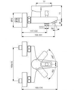 Стенен смесител за вана и душ VIDIMA SEVA TOP BC403AA