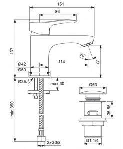 Стоящ смесител за умивалник с Click изпразнител VIDIMA SEVA S  BC384AA