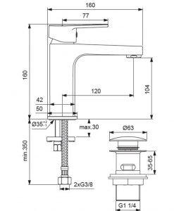 Стоящ смесител за умивалник с Click изпразнител VIDIMA SEVA TOP BC398AA